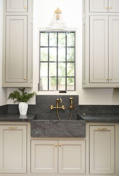 Interior Design Kitchen Cabinets - Benjamin Moore - Sage Mountain dark countertop with gold hardware and faucet Kitchen Design Ideas Kitchen Credenza, Diy Kitchen Remodel, Kitchen Makeover, Kitchen Cabinets, Modern Kitchen, New Kitchen, Diy Kitchen, Kitchen Renovation, Kitchen Design