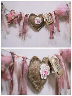Heart Garland for Valentine's Day Decor Valentines Day Decorations, Valentine Crafts, Be My Valentine, Kids Crafts, Diy And Crafts, Craft Projects, Arts And Crafts, Burlap Crafts, Fabric Crafts