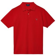GANT Solid Pique Short Sleve Polo Red