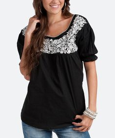 This Black Cambric Top by Rancho Estancia is perfect! #zulilyfinds
