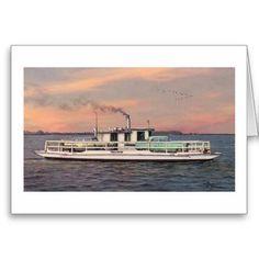 "Shop Paul McGehee ""The Oxford-Bellevue Ferry"" Card created by MCGEHEEWORLD. Ferryboat, Autumn Day, Dusk, Maryland, Avon, Crisp, Envelope, Oxford, Scene"