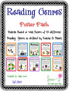 Reading Genre Poster Set with Definitions! Every classroom library needs to have Reading Genre Posters! Each of these 10 posters have pictures that correspond to the definition of each genr. Reading Genre Posters, Reading Genres, Reading Skills, Teaching Reading, Reading Comprehension, Free Reading, Guided Reading, Reading Lessons, Texts