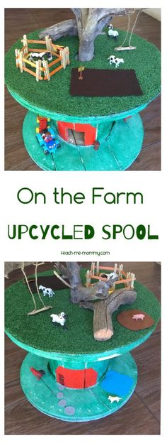 On the Farm Upcycled Spool Another great upcycled spool idea: On the Farm Small World! Your kids will have hours of fun! Cable Reel Ideas For Kids, Cable Drum Ideas For Children, Cable Reel Ideas Eyfs, Cable Spool Tables, Cable Spools, Diy For Kids, Crafts For Kids, Wire Reel, Kids Outdoor Play