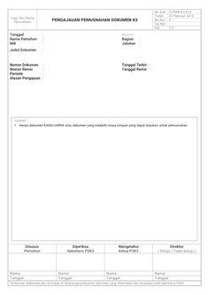 Contoh Formulir K3 : Form Pengajuan Pemusnahan Dokumen K3