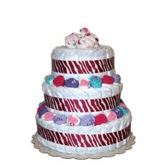 Cute zebra decorated baby girl diaper cake