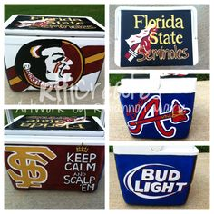 Sports Custom Painted cooler for guys by RhiCreates on Etsy. great gift idea!!