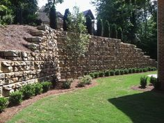 Landscaping Inspiration Photo Gallery - Retaining Walls, Stone Steps, Pavers, Retaining Wall Caps, Pillars and Columns Rock Retaining Wall, Sloped Garden, Garden Maintenance, Home Landscaping, Beautiful Gardens, Outdoor Living, Stone Steps, Stone Pathways, Exterior
