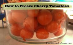 freeze cherry (or grape) tomatoes. this had never occurred to me. i'll have to do this next time my little tomatoes start looking a bit shrivelly. Freezing Cherry Tomatoes, Freezing Vegetables, Fruits And Veggies, Frozen Vegetables, Growing Tomatoes, How To Make Tomato Sauce, Freezer Cooking, Freezer Meals, Freezer Recipes