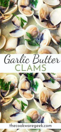 sauteed clams with garlic and butter recipe. A fresh and healthy dinner at home.Easy sauteed clams with garlic and butter recipe. A fresh and healthy dinner at home. Clam Recipes, Seafood Recipes, Dinner Recipes, Cooking Recipes, Healthy Recipes, Halloumi, Fish And Seafood, Food Print, Blueberry