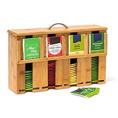1e55fd954 Relaxdays Caja para Bolsitas de Té, Bambú, Natural, 22 x 33,5 x 10 cm:  Amazon.es: Hogar