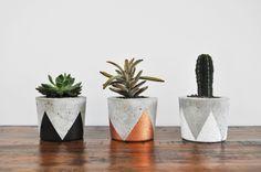 Black, copper and white geometrical concrete pots