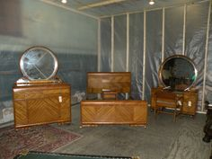 Art Deco Waterfall Bedroom Furniture. Missing Lingerie Chest and Chifferobe.