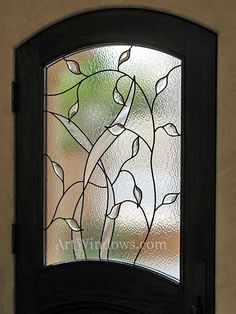 Clear on clear stained glass door panel - leaf design