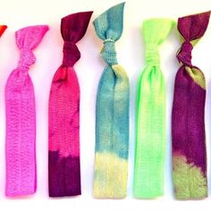 Cute tye-dye headbands and ponytail holders/bracelets. Would be great for something like the Color Run!