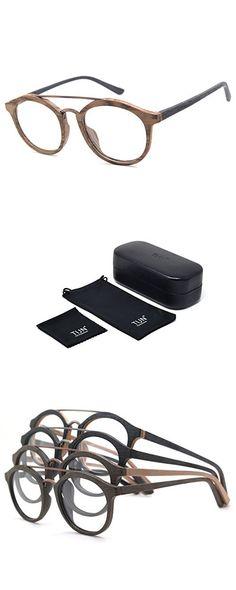 22d6815b475 TIJN Unisex Classic Geek Nerd Wood Grain Round Horn Eyeglasses Eyewear
