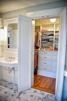 Small Master Bathroom Design Ideas |Isn't this the best master closet off a bathroom –ever! Love it.