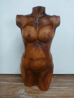 Balinese Hand Carved Saur Wood Sculpture Female Torso Nude Statue 50cm