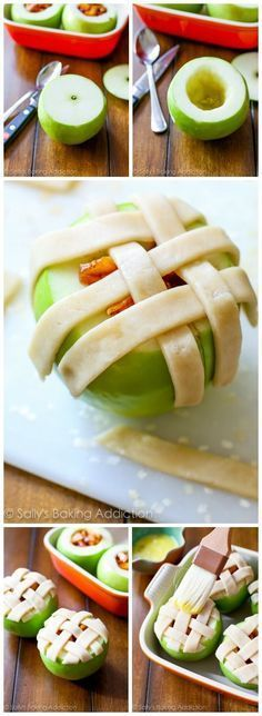 One of my favorite things to make in the Fall! Apple pie baked in apples with a lattice crust on top. Delicious!