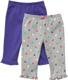 Carter's 2-Pack Pants - Heather-Polka Dots/Purple - 12M Carter's. $13.59