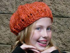 Girls Orange Knit Hat by lovemyknits on Etsy, $15.00