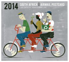 Cape Town World Design Capital 2014 Bicycle Illustration, South African Design, Bicycle Art, Small Paintings, Old Postcards, Paint Designs, Cape Town, Postage Stamps, Art Images
