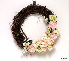 Hydrangea Wreath Spring Hydrangea Grapevine Wreath by KimLKrafts