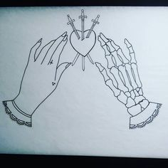 Tonight's drawing. The heart looks kinda wonky, needs some tweaking before painting #hands #allthehashtags #traditionaltattoo #traditionaltattoodesign #skeleton #skeletontattoo #skeletonhands #tarot #threeofswords #3ofswords #daggers #swords #gypsy #tattoooutline #tattoodesigns #tatoodesign #tarotcards