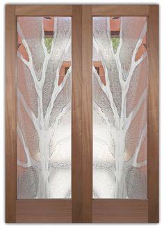 Barren Branches 2D Gluechipped Door    Semi-Private Glass