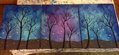 Fireflies multi canvas painting blues purples turquoise  NaptimeDesignsJD@gmail.com Facebook: NaptimeDesignsJD