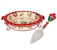 cherries jubliee pie dish with server on qvc.com