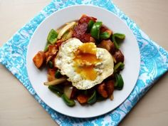Recipe: Sweet Potato and Chorizo Hash (with a fried egg)   bonus Chickpea and Chorizo Stew!