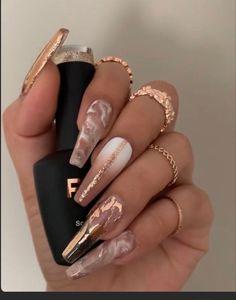 Gold Acrylic Nails, Summer Acrylic Nails, Acrylic Nail Designs, Rose Gold Nails, Pastel Nails, Dope Nail Designs, Gold Coffin Nails, Summer Nails, Art Designs
