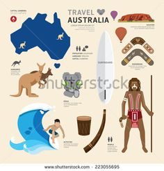 Travel Concept Australia Landmark Flat Icons Design .Vector Illustration