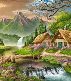 DIY Digital Canvas Oil Painting By Numbers Pictures Coloring By Numbers Large Acrylic Paint By Number Kits Fairy House Scenery Paintings, Nature Paintings, Beautiful Paintings, Beautiful Landscapes, Landscape Art, Landscape Paintings, Belle Image Nature, Cottage Art, Beautiful Nature Wallpaper