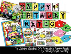 Listening and Dancing to Music is...AWESOME!!! Do It Yourself: Yo Gabba Gabba Printable Party Pack. Just Print, Cut and Glue this colorful set!  #yo #gabba #gabba #muno #foofa #toodee #plex #party #pack #birthday #invite #invitation #cupcake #wrapper #topper #candy #bar #party #hats #bubble #custom #printable #party #DIY #event #digital