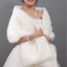 Ivory/White Faux Fur Jacket Wrap Shrug Bolero Shawl Cape Bridal Wedding Hot Sale