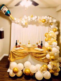 Birthday Balloon Decorations, Anniversary Decorations, 50th Party, Gold Party, 40th Birthday, Birthday Parties, Champagne Balloons, Balloon Bouquet, Foil Balloons