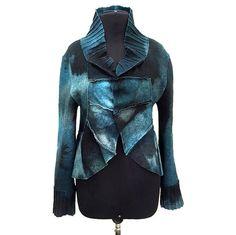Blue Knitted Jacket, Felted Blazer, Aqua Knitted Coat, Felt Jacket, Green Knit Jaket, Blue Wool Blazer, Ana Livni