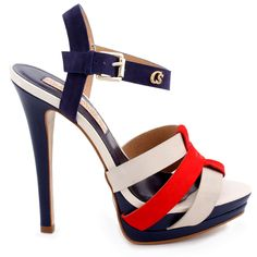 OH MY... Sandália Alto Verão Navy Carmen Steffens - sandal in red white and blue