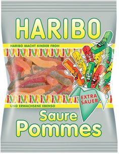 Haribo Saure Pommes 200g, 5 Beutel Fruchtgummi Beutel Haribo Fruchtgummi Beutel