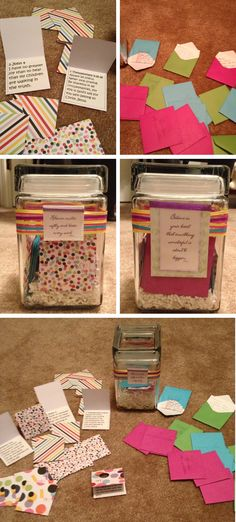 New Mom Prayer Jar: I found a jar and some mini greeting cards and decorated the jar to match. In the cards, I wrote Bible verses that would help or inspire mom. I then cut squares of card stock to fit inside the envelopes. At the shower, the guests wrote words of wisdom/advice that the new mom can read when she needs encouragement. We went in a circle and read either the note we wrote or a Bible verse, filling the jar. The jar can stay in the nursery and be reread as needed.