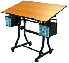 The perfect affordable table set for crafters, hobbyists and artists. Includes dual 3-drawer utility units, locking casters, adjustable top and a pencil ledge.