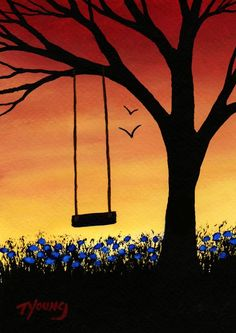 Tree Swing Modern Folk Art Print of Todd Young painting Last Days of Summer. Reminds me of painting my Granddaughter gave us. Easy Canvas Painting, Simple Acrylic Paintings, Painting & Drawing, Canvas Art, Swing Painting, Summer Painting, Art Paintings, Acrylic Canvas, Cute Easy Paintings