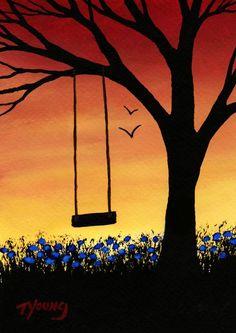 Árbol Swing moderno Folk Art Print de Todd Young por ToddYoungArt