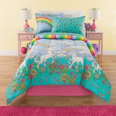 Amazon.com: 6 Piece Girls Unicorn Rainbow Comforter Set Twin, Reversible Bedding, Beautiful Allover Flowers and Floral Pattern, Vibrant Rainbows with Clouds, Pink Orange Yellow Blue Aqua Green: Home & Kitchen
