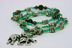 Emerald Elephants Stacking Charm Bracelets, Set of 3