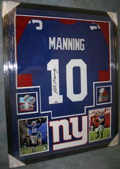 Eli Manning Framed New York Giants Jersey Autograph COA Steiner Sports Buffalo Bills Football, New York Giants Football, My Giants, Ny Yankees, College Football, New York Giants Logo, New York Giants Jersey, Eli Manning Super Bowl, Best Man Caves