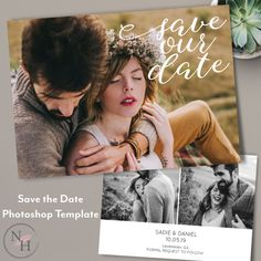 Save the Date Template with Photos for Photographers, Wedding Photography, Engagement Photo Card, Marketing Board, Instant Download