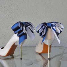 Bridal Party Wedding Navy Blue And White Bow Shoe Clips Set Of Two... ($35) ❤ liked on Polyvore