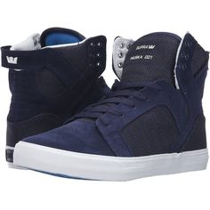 Supra Skytop (Navy Two-Tone/White) Men's Skate Shoes ($57) ❤ liked on Polyvore featuring men's fashion, men's shoes, navy, mens two tone shoes, mens cap toe shoes, mens leather skate shoes, mens leather shoes and mens monk strap shoes